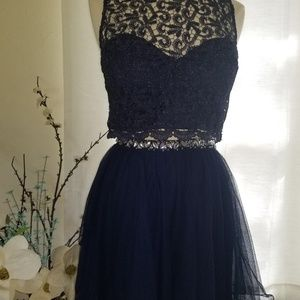 Two Piece Navy Lace Dress